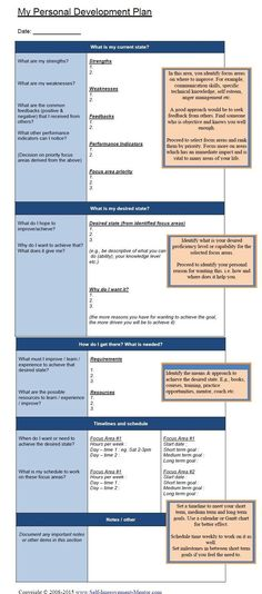 personal development plan templates - Google Search