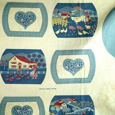 Vintage OUR FAMILY TREE SAMPLER HOME HEART PILLOW FRONT 1980/'s Fabric PANEL