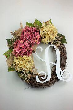 Hydrangea wreath Fall wreath Everyday wreath Rustic wreath