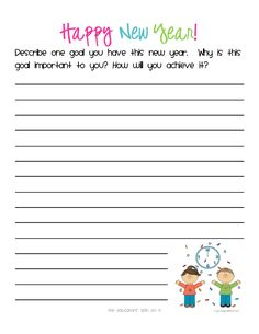 New Year's Writing Prompt for Kids plus Crafts and activities to celebrate New Year's Eve.