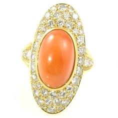 A Beautiful Coral Diamond Gold Cocktail Ring Coral And Gold, Coral Ring, Coral Jewelry, Antique Rings, Or Antique, Jewelry Rings, Jewelry Accessories, Jewellery, Diamond Rings