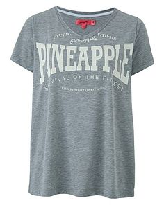 Pineapple V Neck tee   Simply Be