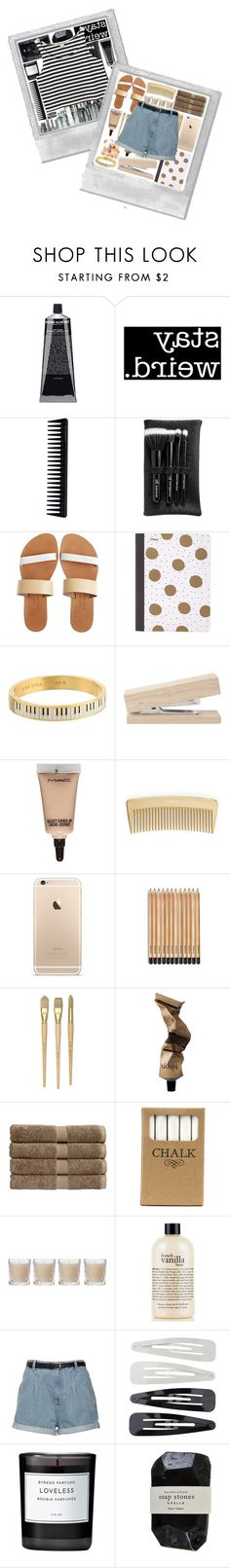 """""""Stay Weird"""" by dial-a-for-amine ❤ liked on Polyvore featuring Grown Alchemist, GHD, e.l.f., Isapera, Mead, Kate Spade, MAC Cosmetics, AERIN, Aesop and Christy"""