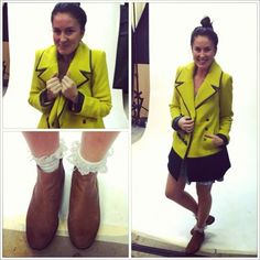 Our staff always dress so cute around the office! Claire is sporting the Minty Meets Munt Brooklyn Coat