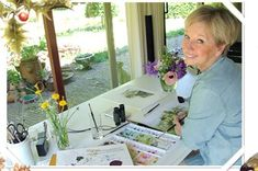 One of my favorite artists...Marjolein Bastin at her painting desk