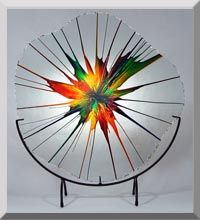 Dennis DeBon's Energy Webs- Spin art on sheet of glass, then heated to fuse paint to glass - gorgeous!