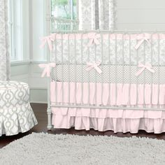 French Gray and Pink Damask Crib Bedding by Carousel Designs.