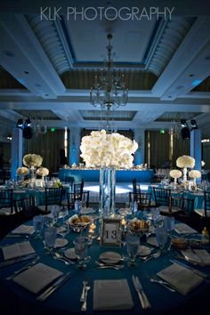 we've all seen this type of centerpiece but uplighting really makes it POP