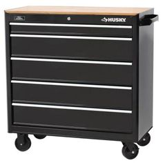 Husky 37 in. 5-Drawer Mobile Workbench with Solid Wood Top, Black-HMT-305MWB - The Home Depot