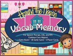 House Vocab Memory Game - Speech, ESL, RTI
