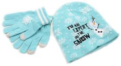 Frozen Blue Snowflake Disney Beanie & Glove Cold Weather Set