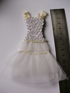 Miniature wedding dress quilled bodice by abigail
