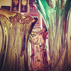 Beautiful colored glass vases.