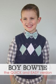 DIY Little Boy Bowtie: the QUICK and EASY version --- Make It and Love It