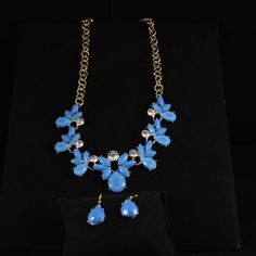 Blue necklace set with earrings Necklace set with earrings. Blue. Jewelry Necklaces