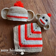 Sock Monkey Lovey Security Blanket and Baby by amyhinmandesigns, $45.00