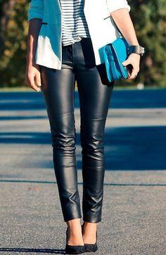 Black Low Waist Skinny Elasic PU Leather Leggings