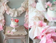 DIY Watercolor Paper Towel Ruffle Garland. Paper towels as party decor? Seriously amazing