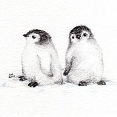 Pencil Drawing Techniques 2 Little Penguin Chicks - Original Pencil Drawing - Art And Illustration, Pinguin Illustration, Cute Drawings, Animal Drawings, Drawing Animals, Drawing Birds, Baby Drawing, Simple Pencil Drawings, Painting & Drawing