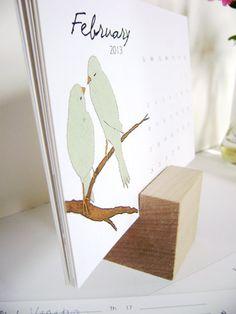 Handmade Bird Calendar with Wood Cube, Eva Artwork. $18.00, via Etsy.