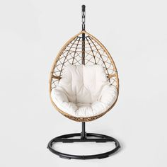 Hanging Egg Chair with Stand . Hanging Egg Chair with Stand . Swing Rattan Effect Poly Cocoon Hanging Egg Chair Brampton Metal Patio Chairs, Porch Chairs, Swing Chairs, Room Chairs, Egg Swing Chair, Bedroom Swing Chair, Patio Loveseat, Hanging Egg Chair, Swinging Chair