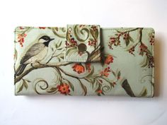 Handmade women wallet clutch - Birds on branches, with small flowers - Ready to ship - soft green colors - vegan purse - Gift ideas for her by PatrisCorner on Etsy