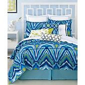 Trina Turk Bedding, Blue Peacock Comforter and Duvet Cover Sets