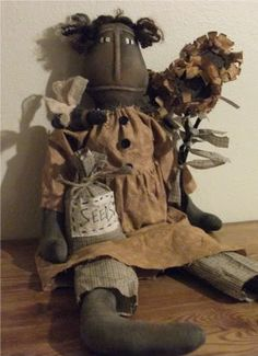 Primitive Black Folk Art Doll - Sunflower - Seed Bag by primitivewishfuls on…