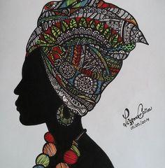 African woman silhouette- Sharpie Art