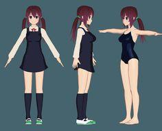 3d toon render anime girl