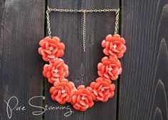 Flower Necklace in Coral - Rose Necklace - J. Crew Inspired