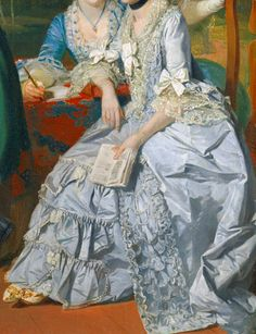 Light blue silk open robe with ruche trimmed edging and scalloped flounces to underskirt; two tiers of ivory lace and white ribbons to elbows and center front of lace trimmed stomacher; strands of pearls about wrist and black velvet choker to throat; contrasting embroidered toed shoes. Companion behind in vibrant blue is wearing one white long kid glove across chair back. Detail from The Gore Family with George, 3rd Earl Cowper, 1775 by Johan Joseph Zoffany