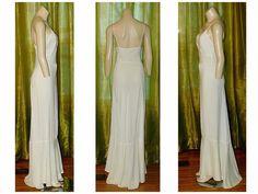 60ef913d9dfe 20s 30s Evening Gown Sz S Vintage Black Bias Cut Rayon Crepe Lace Long Dress  | eBay