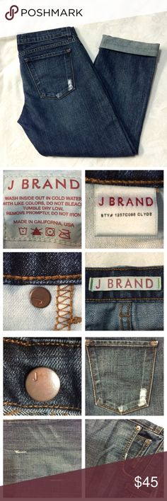J Brand Cropped Denim These are J Brand Cropped Denim. NWOT! Perfect for Spring. There are really nice frayed parts along the jeans. Great style! The size is 26. The inseam is 25 inches cropped and 29 inches not cropped. J Brand Jeans Ankle & Cropped