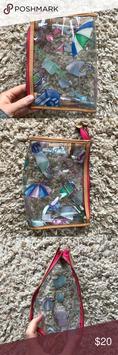 DOONEY & BOURKE Clear Beach Print Pouch Bag Authentic Dooney & Bourke. In perfect condition. Clear plastic material that's easy to clean, and great for the beach as the material is great for water and other elements. Working zipper. Allows much space for wallet, phone, and other accessories. Dooney & Bourke Bags Mini Bags