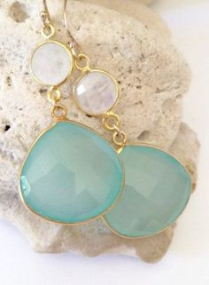 Aqua Stone Earrings beach wedding jewelry beach