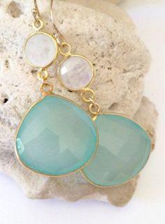 Aqua Stone Earrings beach wedding jewelry beach
