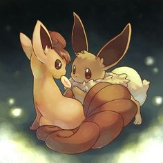 My 2 favourite Pokémon, Vulpix and Eevee.