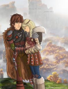 Hiccup the Chief and his Wife, Astrid who is pregnant. And no one knows my amount of feels right now.