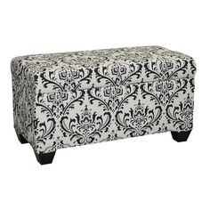Skyline Furniture Upholstered Storage Bench in Traditions Black and White