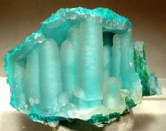 Ice Age:)   Quartz-coated chrysocolla stalactites from the Ray Mine of Arizona.