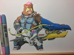 [OC] I did a mashup of Ursaring and Zarya from Overwatch wielding a Clawitzer cannon Real Pokemon, Pokemon Gif, Pokemon Funny, Pokemon Games, Overwatch Pokemon, Overwatch Pin, Overwatch Memes, Pokemon Crossover, Anime Crossover