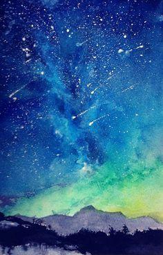 极光 水彩 壁纸 背景 星空 夜空 美@暗魅丶噬血采集到插画の唯美意境绘板(735图)_花瓣插画/漫画