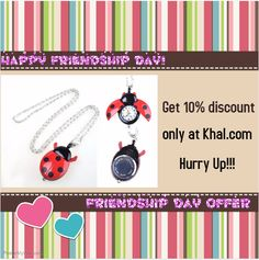 NEEWER Stainless Case Ladybug Shape Necklace Pendant Quartz Pocket Watch BRAND NEW  https://www.khal.com/products/neewer-stainless-case-l.. Its the time to celebrate your friendship with the loved one. Get 10% discount without any registration for shopping... No barriers... No wastage of time.... Just one click at khal.com  Hurry up! Limited Offer.
