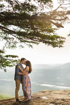 Gorgeous proposal + engagement session at Sunset Rock on Lookout Mountain in Chattanooga. #RandiVasquezPhotography