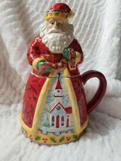 Festive Xmas Jolly Santa Ceramic Plate And Mug Set ~ Father Christmas Design