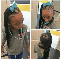 Neat Fishbone Braids - 20 Gorgeous Ghana Braids for an Intricate Hairdo in 2019 - The Trending Hairstyle Little Girl Braids, Black Girl Braids, Braids For Kids, Girls Braids, Baby Girl Hairstyles, Natural Hairstyles For Kids, Kids Braided Hairstyles, Natural Hair Styles, Teenage Hairstyles