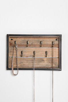 reclaimed wood key hook / necklace holder