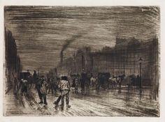 FÉLIX BUHOT Matinée d'Hiver sur les Quais. Etching, drypoint, aquatint, roulette and sandpaper ground printed à l'essence on thin wove paper, 1883.