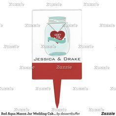 Red Aqua Mason Jar Wedding Cake Topper